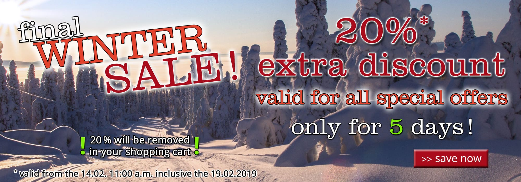 20% extra discount - valid for all special offers