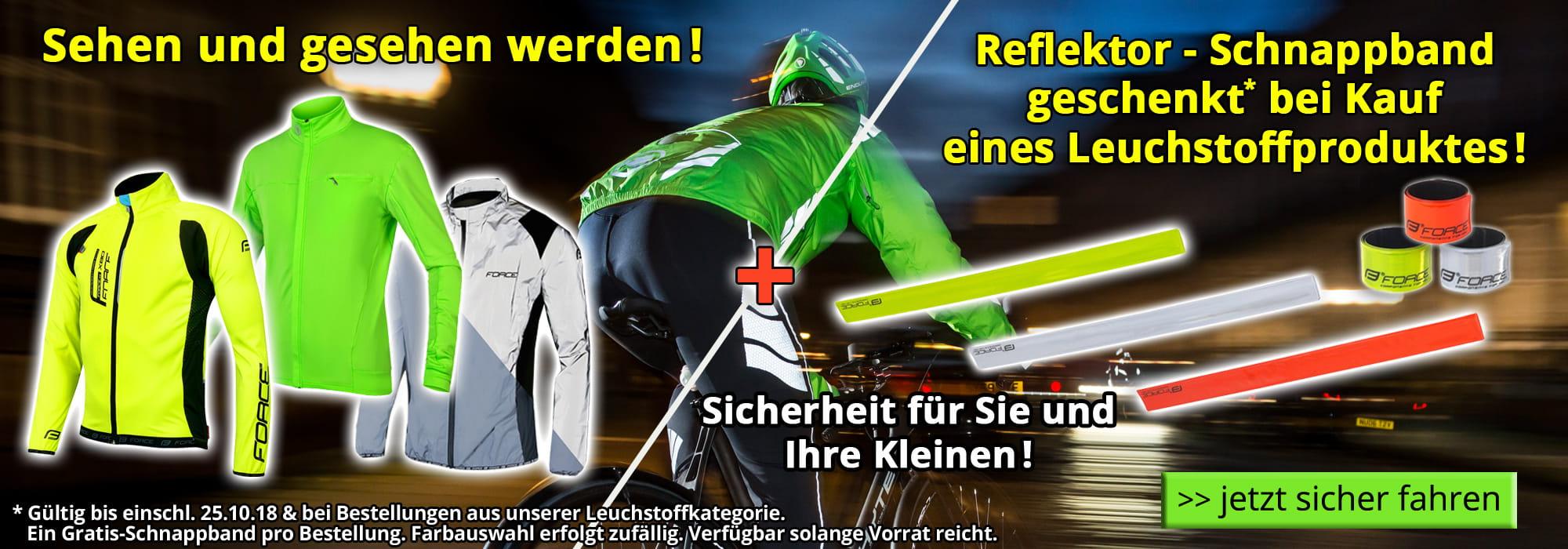 Reflektor - Schnappband geschenkt beim Kauf eines Leuchtstoffproduktes