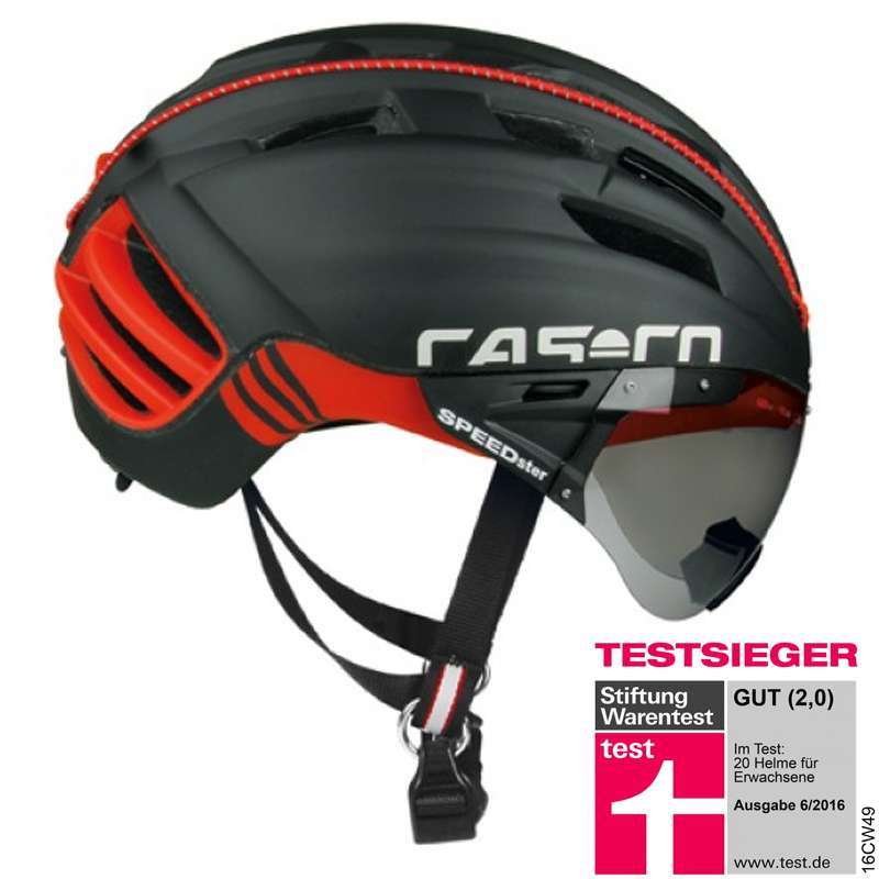 trikotexpress casco speedster tc plus fahrradhelm inkl klappvisier schwarz rot online kaufen. Black Bedroom Furniture Sets. Home Design Ideas