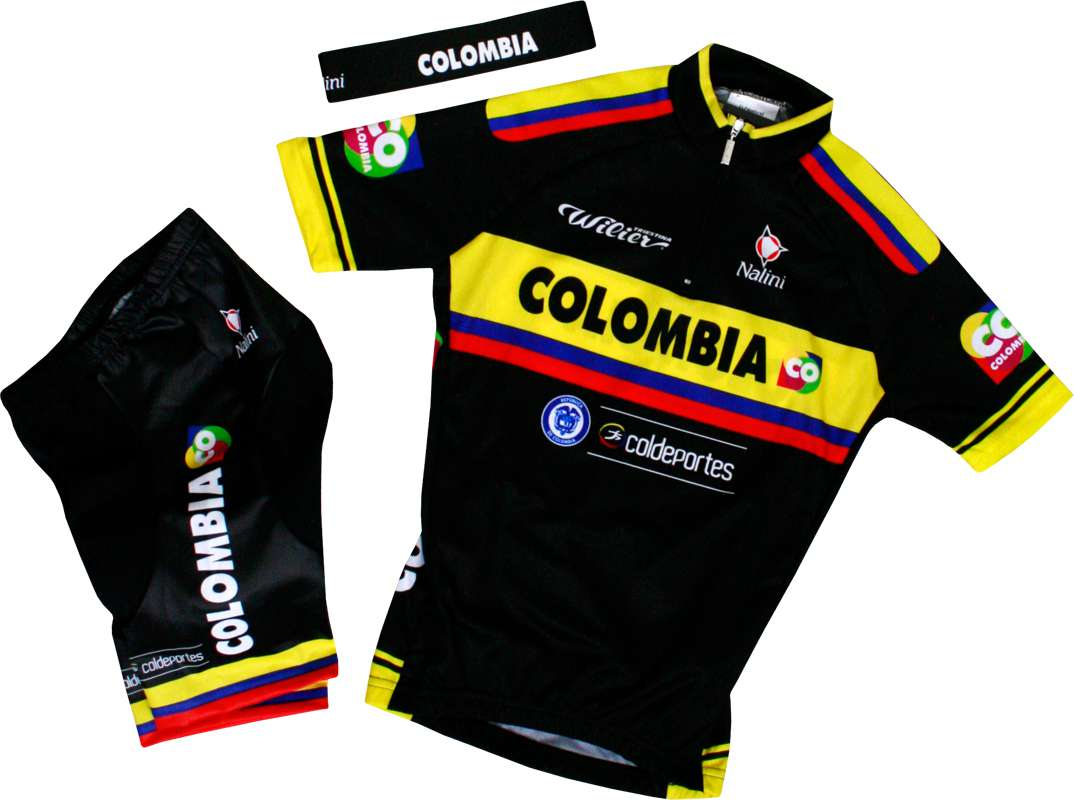 COLOMBIA 2015 Kinder Set (Trikot, Hose, Stirnband) Radsport Profi Team