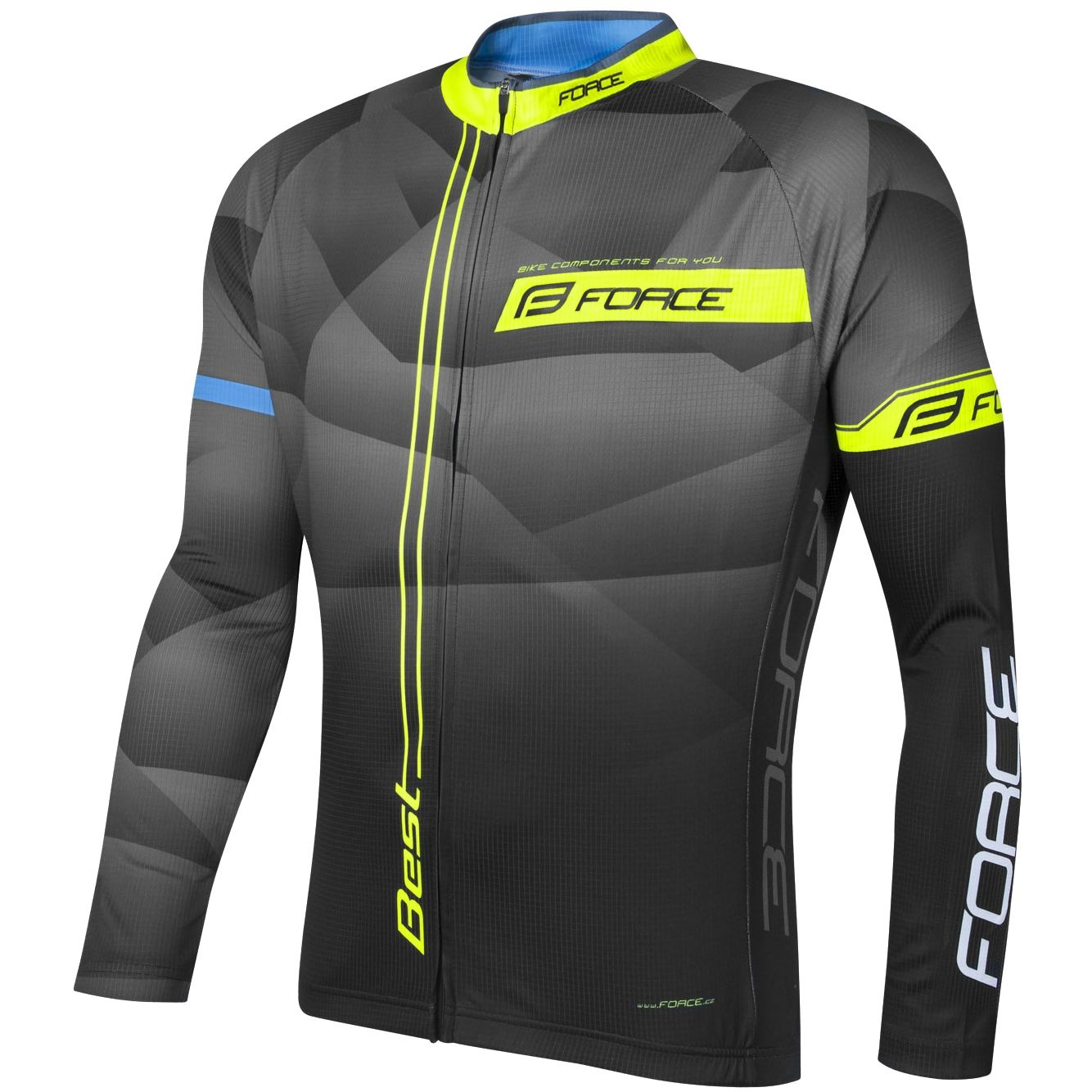 FORCE BEST long sleeve cycling jersey black fluo yellow (900138) 2db9c617d