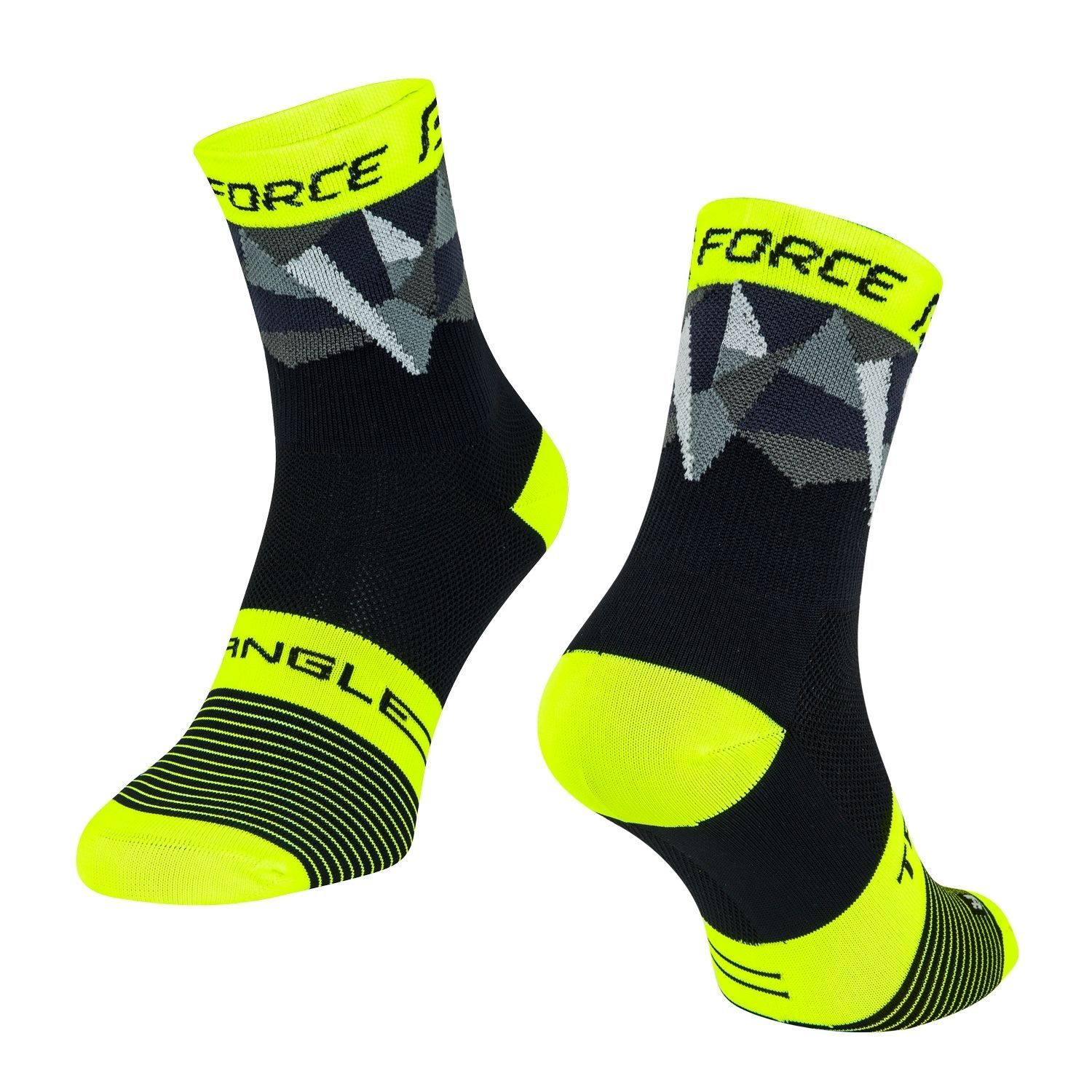 FORCE TRIANGLE Cycling Socks Black Fluo Yellow 900922 23