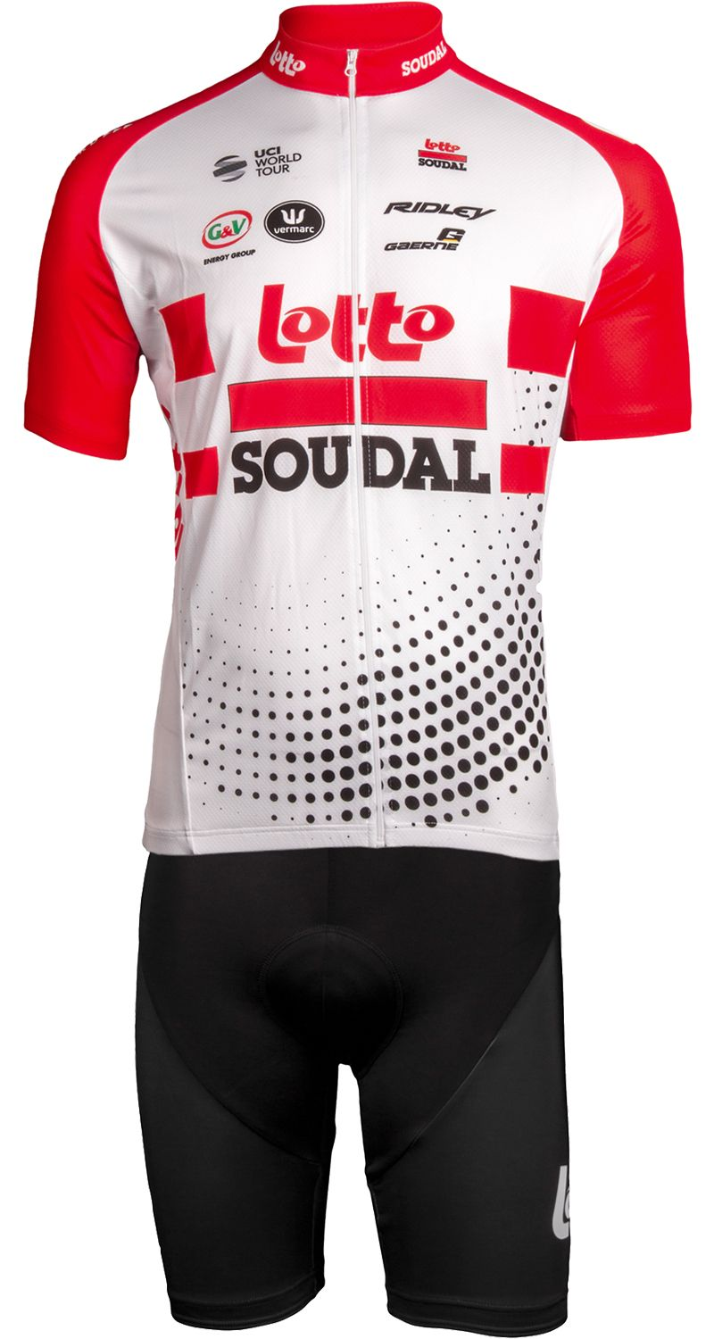 LOTTO SOUDAL 2019 set (jersey long zip + strap trousers) - professional  cycling team