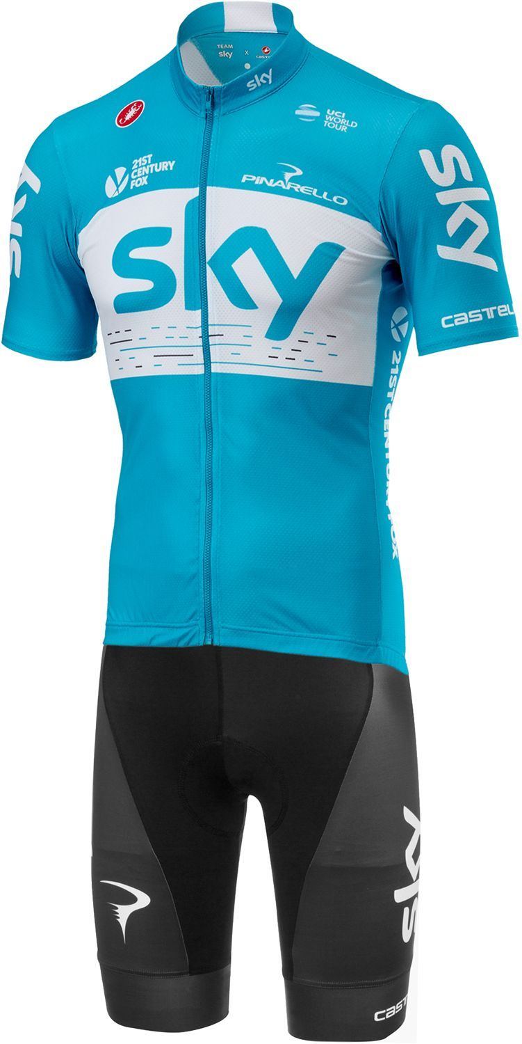 e29096a9d CASTELLI TEAM SKY 2018 FAN training edition set - (jersey long zip + strap  trousers) - professional cycling team