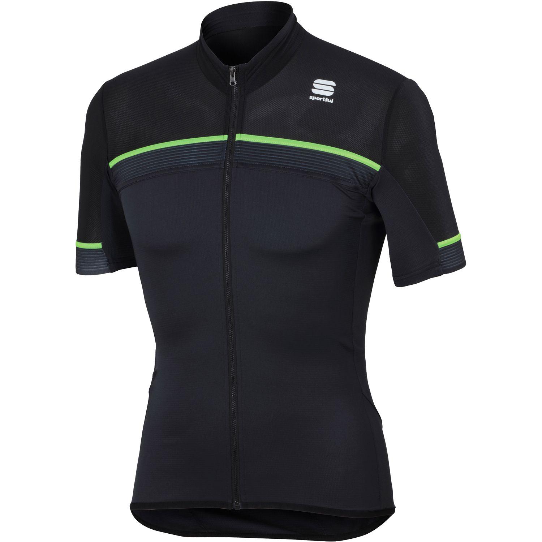 Sportful PISTA short sleeve cycling jersey black fluo green. 27% f8f6c7ae8