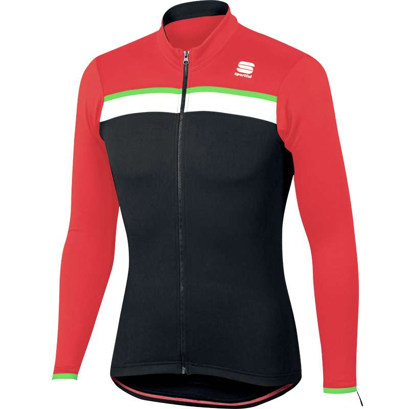 Sportful PISTA THERMAL JERSEY thermo long sleeve cycling jersey black red.  Thermo. 26% ed0beb024