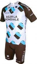AG2R LA MONDIALE 2015 Set (Kurzarmtrikot kurzer RV + Trägerhose) - Descente Radsport-Profi-Team