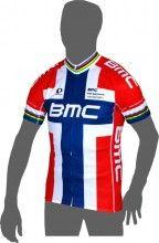 BMC RACING TEAM Norwegischer Meister Kurzarmtrikot (langer Reißverschluss) - Pearl Izumi Radsport-Profi-Team (E13)