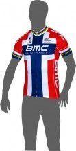BMC RACING TEAM Norwegischer Meister Kurzarmtrikot (langer Reißverschluss) - Pearl Izumi Radsport-Profi-Team (E13/14)