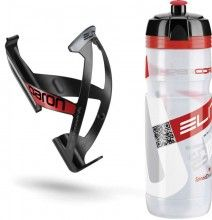Elite Set Trinkflasche plus Halter transparent-rot