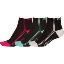 Endura 3-Pack Damensocken Coolmax Stripe
