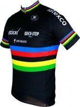 ETIXX-QUICKSTEP UCI Straßenrad Weltmeister 2014/2015 Kurzarmtrikot (kurzer Reißverschluss) - Vermarc Radsport-Profi-Team