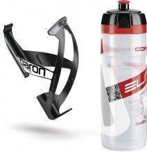 ELITE Kit Trinkflasche SUPERCORSA (transparent) + Flaschenhalter PARON (schwarz)