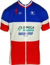 OMEGA PHARMA-QUICKSTEP Französischer Zeitfahrmeister 2012/13 Vermarc Radsport-Profi-Team - Kurzarmtrikot mit langem Reißverschluss