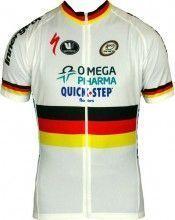 OMEGA PHARMA-QUICKSTEP Deutscher Zeitfahrmeister 2013 Vermarc Radsport-Profi-Team - Kurzarmtrikot mit langem Reißverschluss