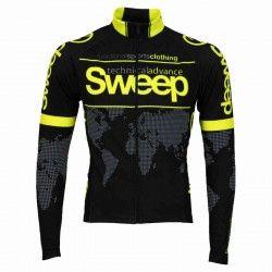 Sweep Elite WORLD long sleeve cycling jersey black yellow fluo (D017) 3ec914df1
