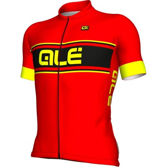 ALE VETTA short sleeve cycling jersey red/fluo yellow