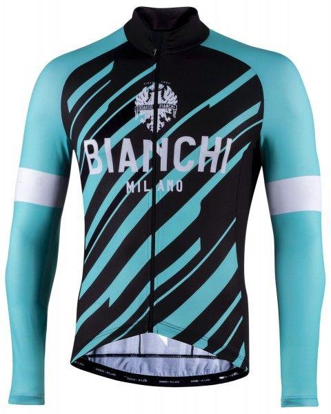 Bianchi Milano Bianzone Fahrrad Langarmtrikot schwarz/celeste 1