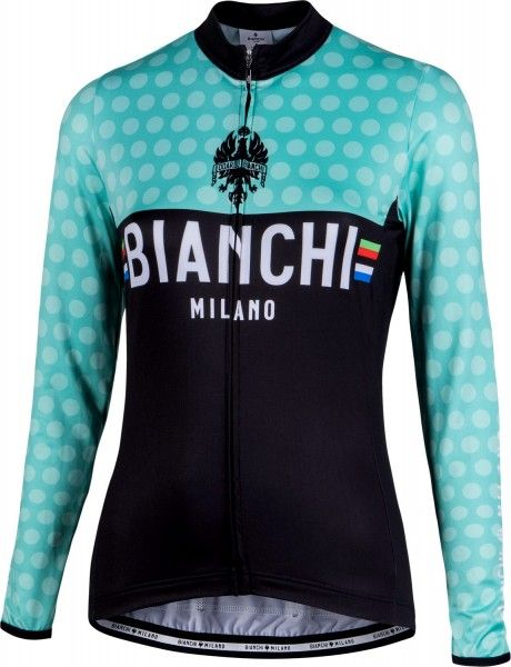 Bianchi Milano TERMENO Damen Langarmtrikot schwarz/celeste 1