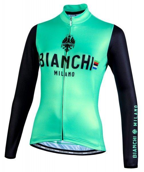 Bianchi Milano Falterona Radtrikot Damen lang celeste schwarz 1