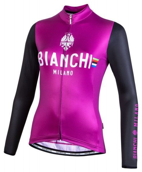 Bianchi Milano Falterona Radtrikot Damen langarm schwarz lila 1
