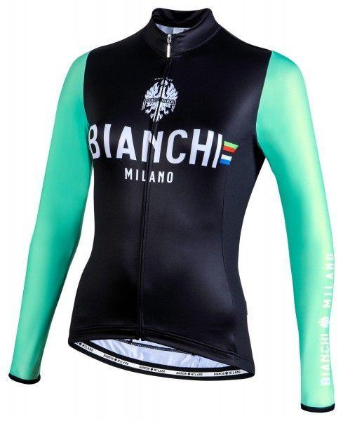 Bianchi Milano Falterona Radtrikot Damen lang schwarz celeste 1