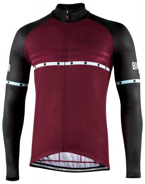 Bianchi Milano Piantedo Fahrrad Langarmtrikot bordeaux rot 1