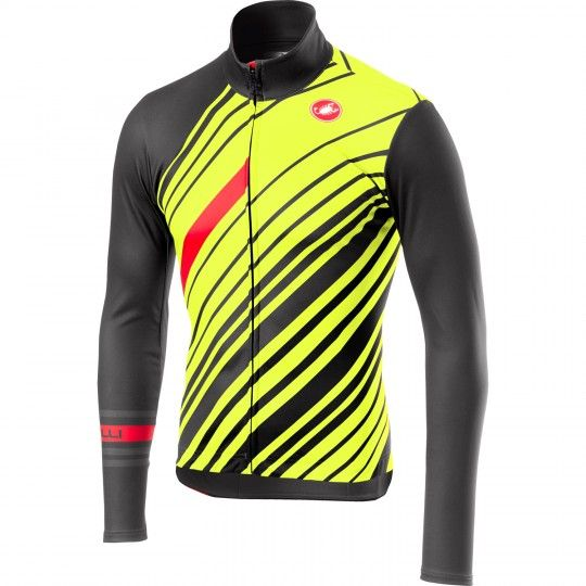 Castelli CIELO long sleeve cycling jersey dark gray/yellow fluo