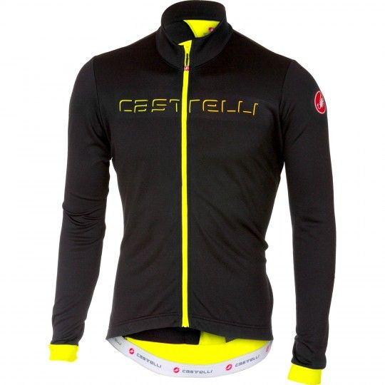 Castelli FONDO Radtrikot langarm schwarz/neongelb 1