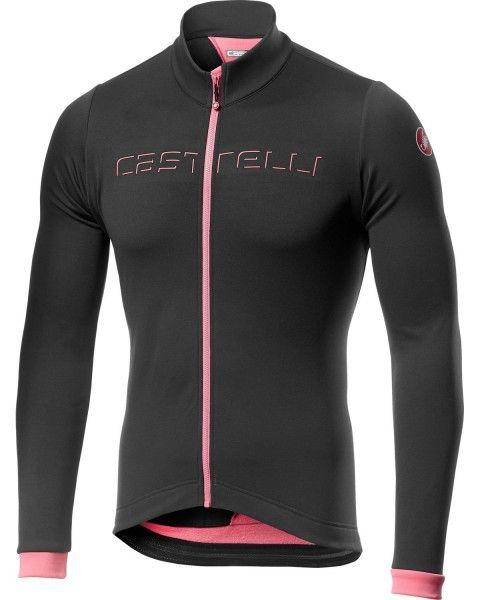 Castelli FONDO Radtrikot langarm dunkel grau/pink 1