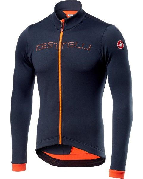 Castelli FONDO Radtrikot langarm dark steel blue/orange 1