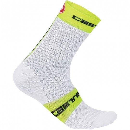 Castelli Free 9 Socke weiß/neongelb