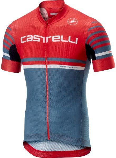 Castelli FREE AR 4.1 Radtrikot kurzarm rot/stahlblau 1