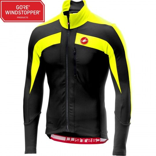 Castelli TRANSPARENTE 4 long sleeve cycling jersey black/yellow fluo