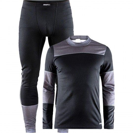 Craft Unterwäsche Set (langarm-Unterhemd + lange Unterhose) schwarz/dunkel grau (1905332-999975) Größe XXL (6)