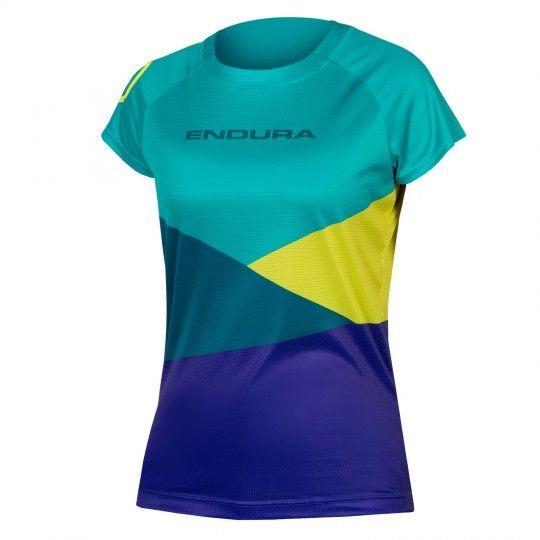 Endura WMS SINGLETRACK PRINT T LTD womens short sleeve jersey turquoise/blue (E6151GK)