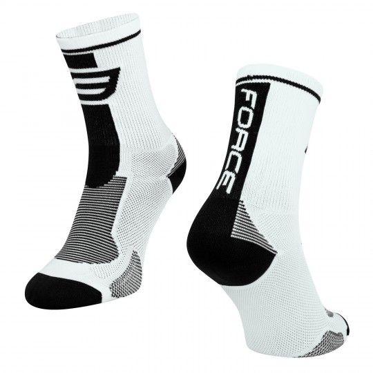 Force LONG Radsocken weiß/schwarz (900985-95) Größe L-XL (42-47, 8-12)