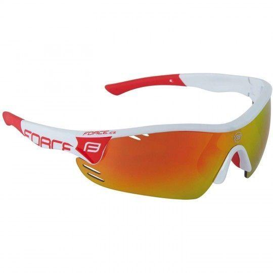 Force RACE PRO Rad- / Sportbrille weiß rot + 2 Wechselgläser 1