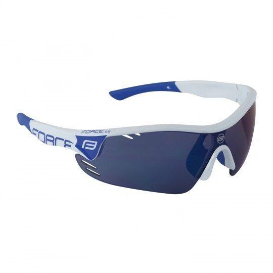 Force RACE PRO Rad- / Sportbrille weiß/blau + 2 Wechselgläser (909391) Universalgröße