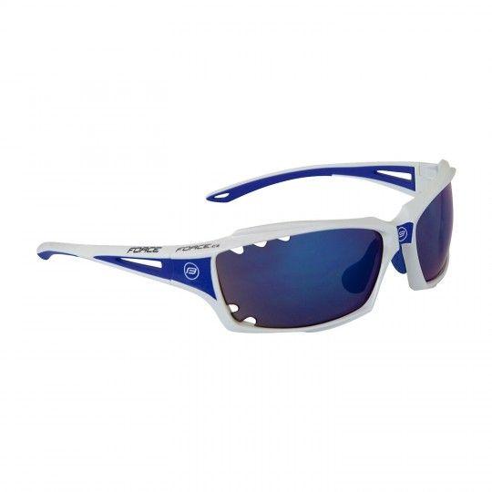 Force VISION Rad-/ Sportbrille weiß/blau