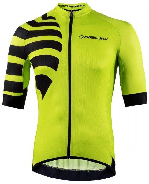 Nalini Stripes Jersey Fahrrad Kurzarmtrikot gelbgrün 1