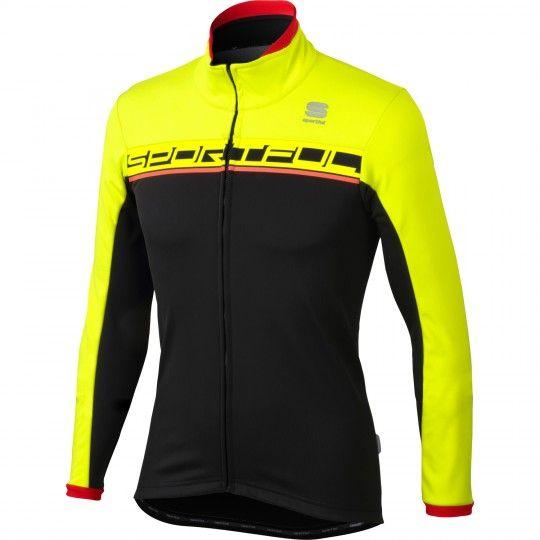 Sportful Giro Softshell Fahrrad Winterjacke schwarz neongelb 1