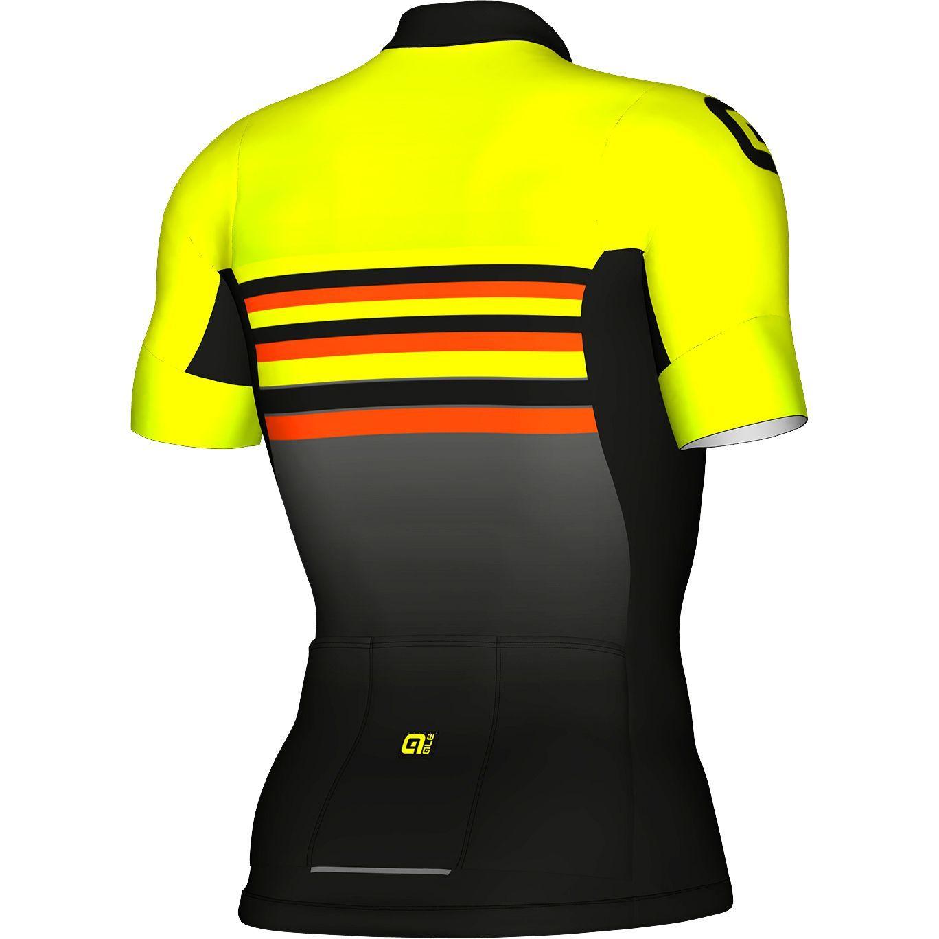 ALE STRIPE short sleeve cycling jersey black fluo yellow. Next d6e746c16