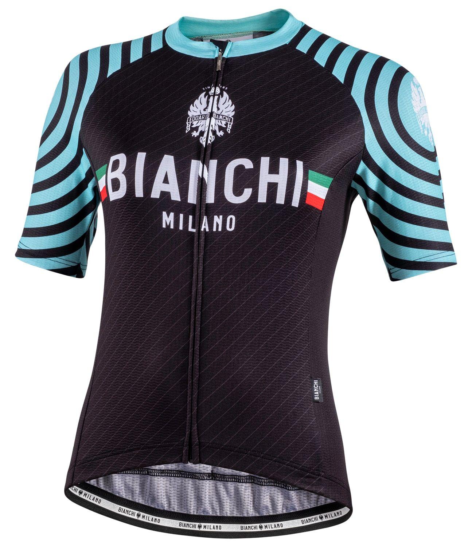 NEW Bianchi Milano 2019 CROSIA Womens Short Sleeve Cycling Jersey BLACK//CELESTE