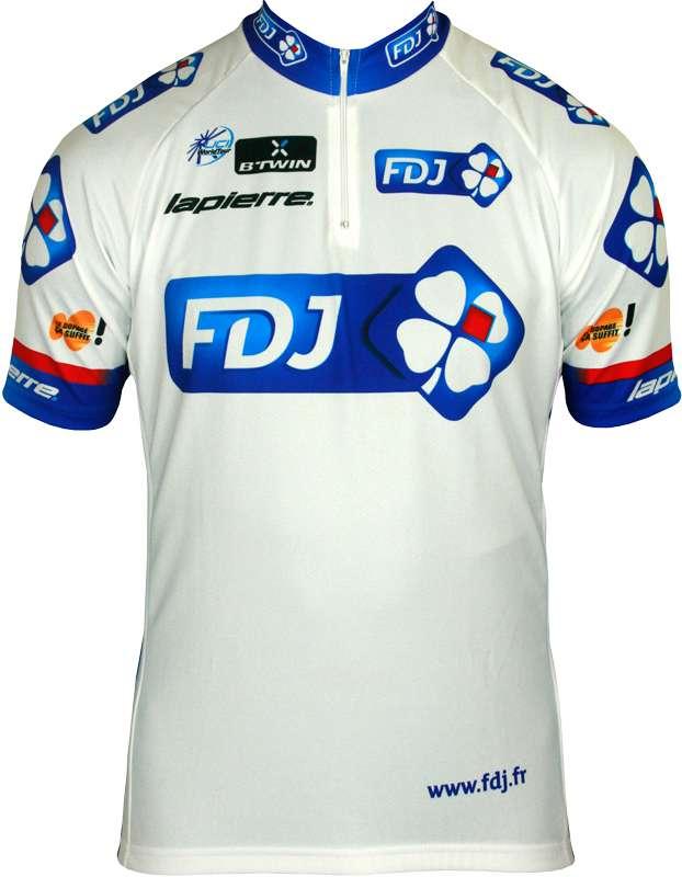 FRANCAISE DES JEUX (FDJ) 2013 professional cycling team set - jersey (short  zip) + strap trousers
