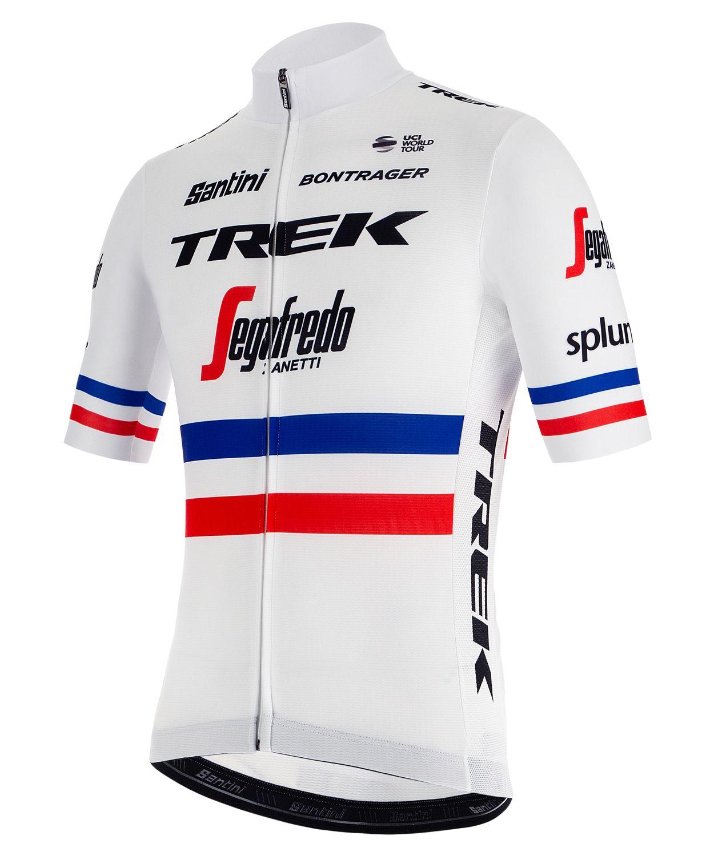 SANTINI TREK - SEGAFREDO french champion 2019 short sleeve cycling jersey  (long zip) - professional cycling team 7b9ae007c