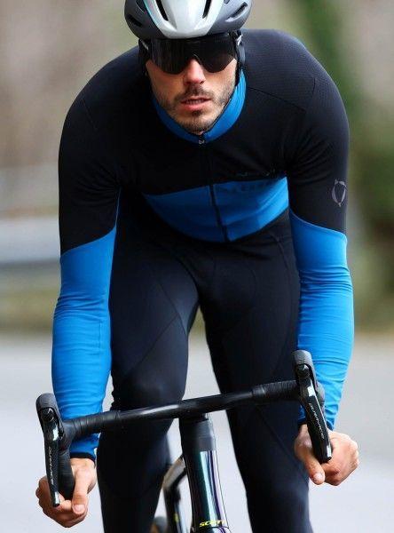 Actionbild Nalini XWarm Jersey Radtrikot langarm schwarz/blau