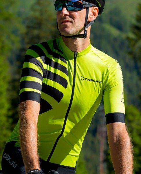Actionbild1 Nalini Stripes Jersey Fahrrad Kurzarmtrikot gelbgrün