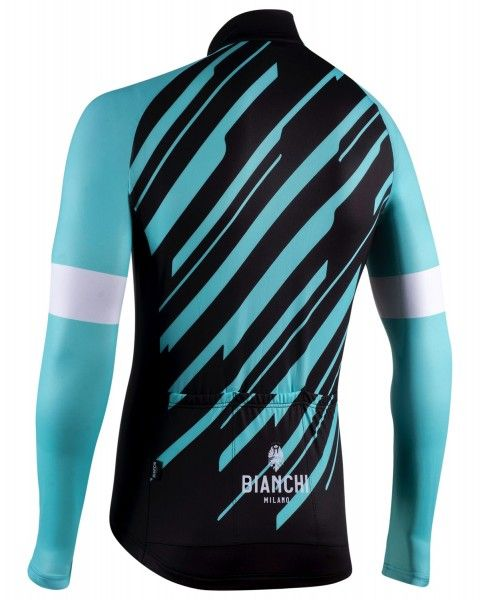 Bianchi Milano Bianzone Fahrrad Langarmtrikot schwarz/celeste 2