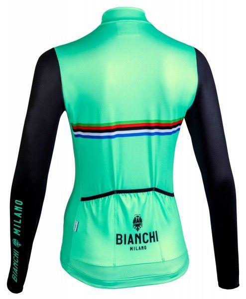 Bianchi Milano Falterona Radtrikot Damen lang celeste schwarz 2
